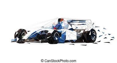 formule, courses, polygonal, vecteur, illustration, bas, voiture, isolé
