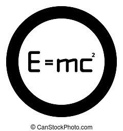 formule, plat, vecteur, rond, théorie, couleur, égal, physique, mc, style, signe, 2, noir, icône, illustration, e, cercle, education, e=mc, relativité, énergie, image, droit & loi, concept, carré