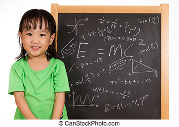 formule, poco, cinese, lavagna, ragazza asiatica, againts