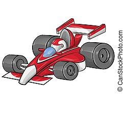 formule, rigolote, course, dessin animé, voiture