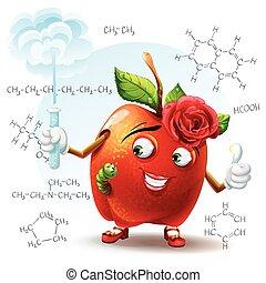 formule, scuola, mela, bellezza, verme tubo, illustrazione, mano, chimico, fondo., prova