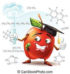 formule, scuola, mela, verme tubo, illustrazione, mano, chimico, fondo., prova