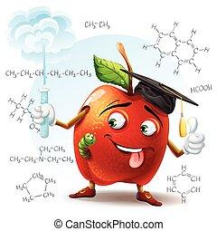 formule, scuola, sostanza, scolaro, suo, tubo, illustrazione, mano, dannoso, fondo., chimico, prova, mela