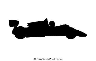 formule, vieux, vecteur, silhouette, voiture