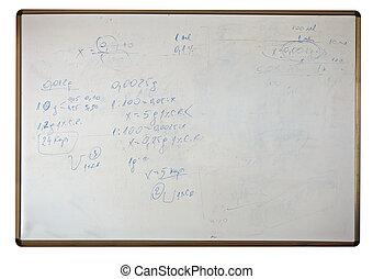 formules, école, noir, planche, blanc, education, math