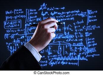 formules, dessin, main
