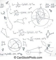 formules, modèle, seamless, isolé, fond, blanc, astromomie