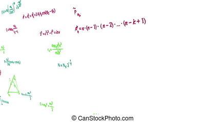 formules, multicolore, physique, math