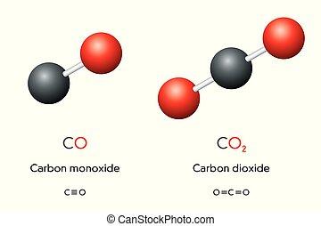 formules, protoxyde, chimique, molécules, bioxyde, carbone