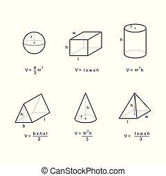 formules, secteur, géométrie, volume, vecteur, fond, blanc