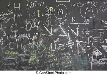 formuls, diferente, muchos, escuela, gris, pizarra, señales, condes, horizontal