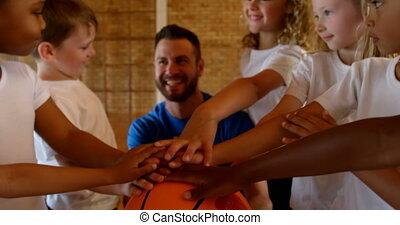 formung, 4k, trainer, gericht, basketball, hand, stapel,...