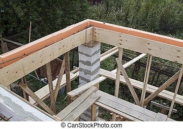 formwork, construction., murs, pays, béton, site, maison, intérieur, blocs, sous, essence, bois, construit