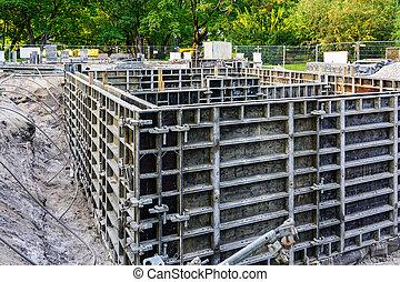 formwork, edificio, utilizar, construcción, precast, el verter, nuevo, cimientos, sistema, concreto