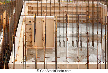 formwork for the concrete foundation, building site,...