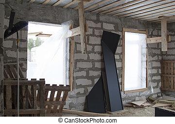 formwork, gris, stored., béton, maison, plié, bois, lambeaux, pays, construction, métal, toit, essence, peint, intérieur, site, blocs, débris, construit, murs, plancher, sous