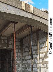 formwork, planchers, entre, vue, volonté, supports, pays, construction, métal, être, rempli, bloc, maison, chevauchement, sous, mousse, bois