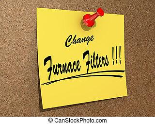 fornace, cambiamento, filtri