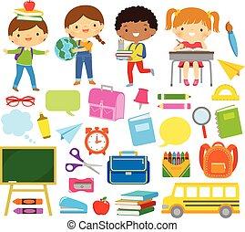 fornecer, clipart, crianças, escola