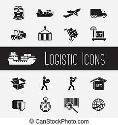 fornitura, set, catena, icone