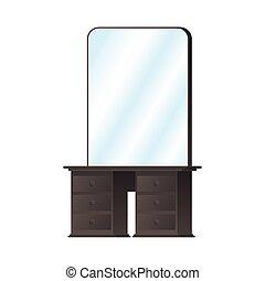 forniture, aliño, de madera, espejo, tabla
