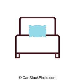 forniture, ikon, kudde, isolerat, säng
