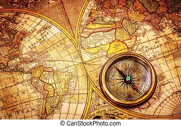 forntida, årgång, map., lögner, kompass, värld