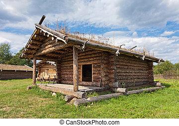 forntida, århundrade, trähus, traditionell, rysk, x