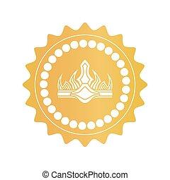 forntida, guld, färg, kunglig krona, märke, kvalitet