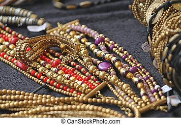 forntida, guld smycken, och, värdefull, juveler, till salu