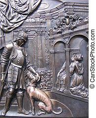 Forntida, järn, staty