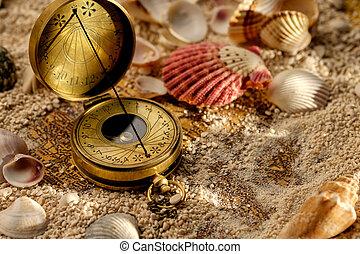 forntida, kompass, sandet, med, snäckskal