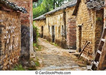 forntida konst, jiangtou, porslin, by, impressionist