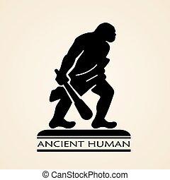 forntida, mänsklig, ikon