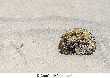 forntida, mynt, vita, sand