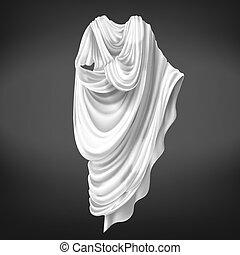 forntida, outerwear, medborgare, romersk, rom, toga., manlig
