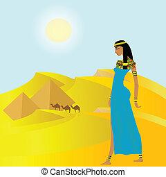 forntida, pyramider, kvinna, bakgrund, egyptisk