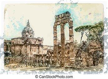 forntida ruinerer, rom