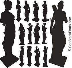 forntida, silhouettes, kvinna, staty