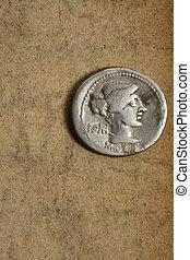 forntida, silver, denauius, mynt, på, papper