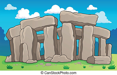 forntida, sten, 2, tema, monument