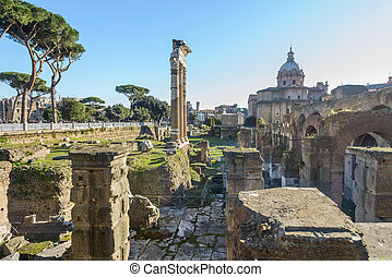 Ruins buildings and statue in the foro romano in Rome italy