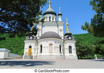 Foros Church in Crimea Ukraine on a summer day, bottom view