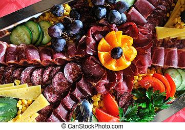 forplejning, mad, ordning, på, tabel