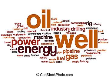 forrás, olaj, szó, felhő