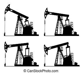 forrás, pumpa, olaj, árnykép, bubi