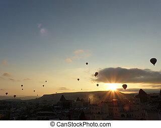 forró levegő, balloons., napkelte