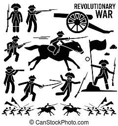 forradalmi, cliparts, háború