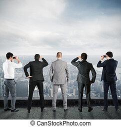 forretningsmænd, kigge, til, fremtiden