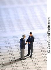 forretningsmænd, på, aktie, priser